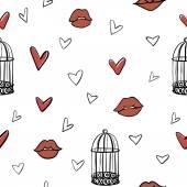 Pattern di elementi vettoriali romantico senza soluzione di continuità — Vettoriale Stock