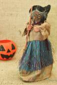 Halloween Creepy Ugly Witches and Jack Lantern Pumpkin — Stock Photo