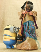 Halloween Minions Prank & the Ugly Witches — Stock Photo
