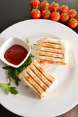 Homemade Cheese and Chicken Quesadilla — Stock Photo