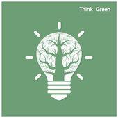 Tree of green idea shoot grow in a light bulb — Stock Vector