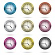 Set of colorful clock icon. — Vector de stock