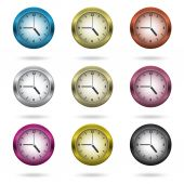 Set of colorful clock icon. — Stock Vector