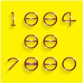 Shinning circle digit style on yellow background.  — Stock Vector