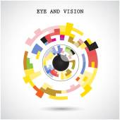 Creative circle abstract vector logo design background. Eye and  — Vettoriale Stock