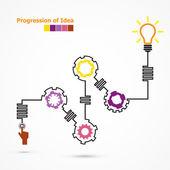 Creative light bulb symbol with linear of gear shape. Progressio — Stock Vector