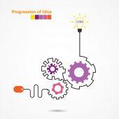 Creative light bulb idea concept and computer mouse symbol. Prog — Stock Vector