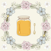 Floral frame, honey jar and bees — Stock Vector