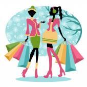 Meninas de compras de inverno — Vetor de Stock