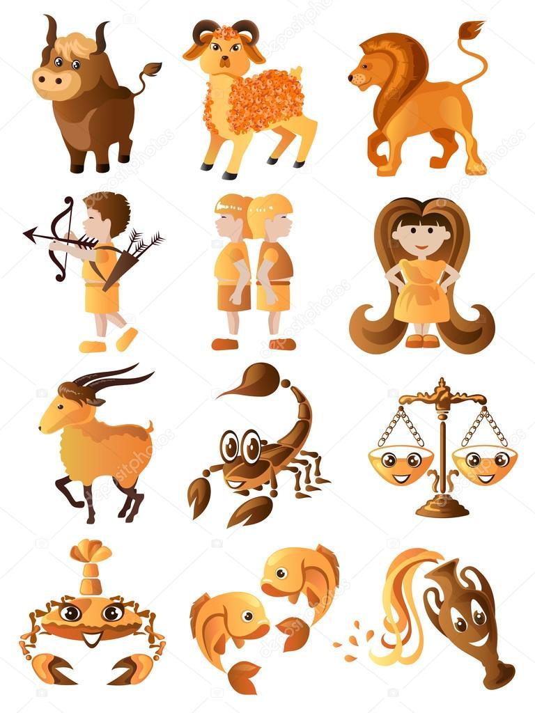 Insieme di segni zodiacali — vettoriali stock