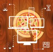 Bestellen Pizza online-Konzept — Stockvektor