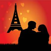 Romantic couple with Eiffel tower in France — Stock Vector
