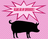 Retro silhouette of pig with comics icons with vegetarian slogan — Stock Vector