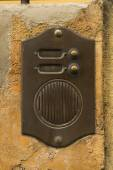 Old Bronze Door Intercom Buzzer — Stock Photo