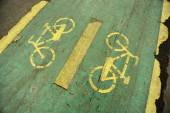 Damaged bicycle lane — Stock Photo