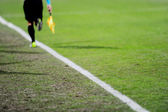 Assistant referee in action on a soccer field — Foto Stock