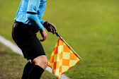 Assistant referee signalling with the flag — Stock Photo