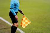 Assistant referee signaling with the flag — Stock Photo