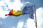 Romanian flag ripped of — Stock Photo