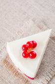 Dessert - Cheesecake with Berries red currant and coffee — Stock Photo