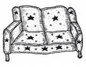 Elle çizilmiş izole kanepe — Stok Vektör