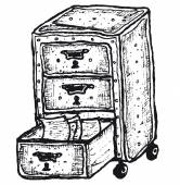 Hand drawn isolated furniture with drawers — 图库矢量图片