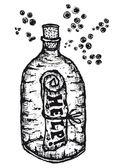Help-paper-in-glass-bottle — 图库矢量图片