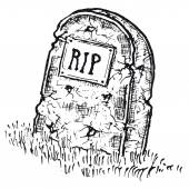 Hand drawn isolated tombstone with RIP — 图库矢量图片