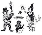 Hand drawn gambling and addiction set — Stock Vector