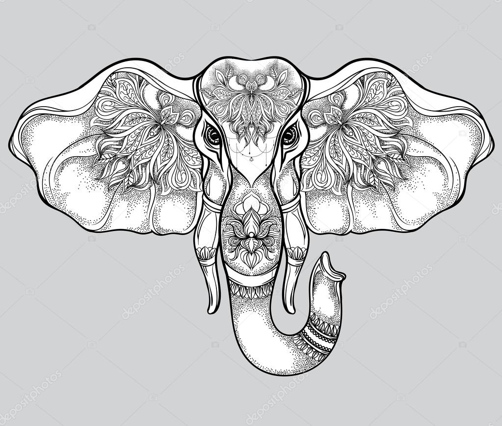 Hand Drawn Elephant Head With Mandala Pattern Vector