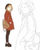 Fashion girl in hat. vector illustration — Stock Vector