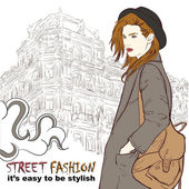 Stylish girl with hat on the street vector illustration — Stock Vector