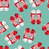 Red sneakers on green background. Vector illustration — Stock Vector