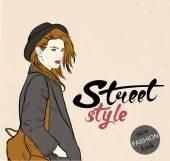 Dziewczyna mody z graffiti, litery. Ilustracja wektorowa — Wektor stockowy