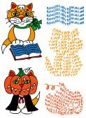 Learned cat and pumpkin — Stock Vector