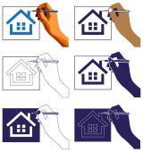 Casa di disegno a mano — Vettoriale Stock