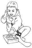 Pojke och telefon — Stockvektor
