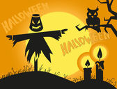 Halloween scarecrow and candles — Stock Vector