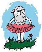 Sheep in skirt — Stock Vector