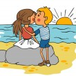 Boy kissing girl on cheek at sunset — Stock Vector #67513995