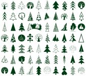 Coniferous and deciduous trees icons on white — Vetor de Stock