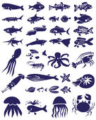 Fish and marine reptiles icons on white — Stock Vector