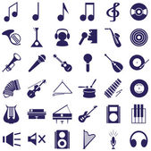 Musical instruments and sound icons on white — Stok Vektör