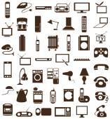 Household appliances icons on white — Stock Vector