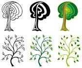 Galhos e árvores de folha caduca — Vetor de Stock