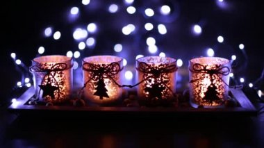 Advent, four candles decorated — Стоковое видео