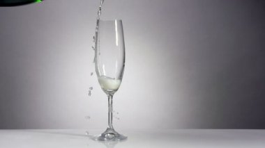 Champagne is pouring in a classic glass — Stock Video