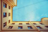Bottom geometrical view of city yard — Stock Photo
