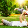 Father and son having fun in summer park — Stock Photo #61542771