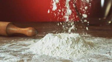 Hand preparing flour — Stock Video